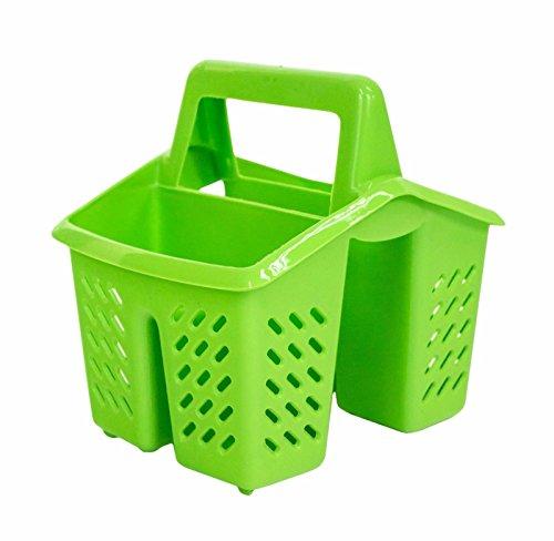 tensilienhalter Korb mit Griff/Sink Drainer Organizer Tidy oder Schreibtisch Aufbewahrung Ständer Caddy grün (Utensil Caddy Korb)
