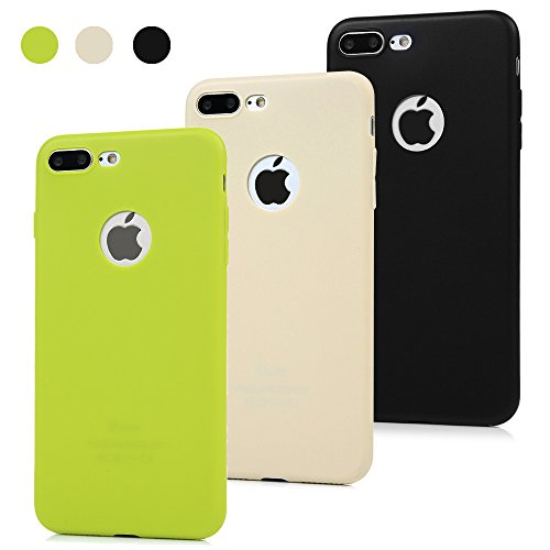 3x Funda iPhone 7 Plus, Carcasa Silicona Gel Case Ultra Delgado TPU Goma Flexible Cover para iPhone 7 Plus - Negro + beige + verde