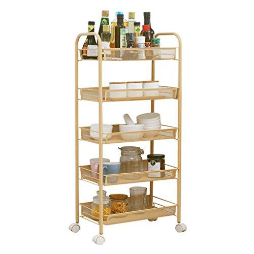 &étagère de rangement Chariot multifonctionnel de stockage d'étagères de stockage de cuisine de chariot de roulement, support intégrale, unité complète d'étagère d'installation de minute Rack de finit
