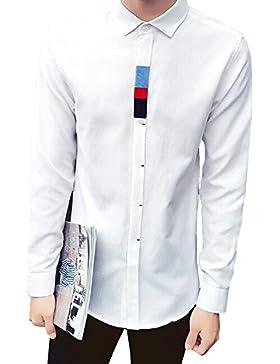BOZEVON Hombres camiseta de manga larga Slim Pure Color Blank Shirt Ocasión de negocios profesional, Blanco, Gris...