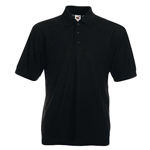 Polo-Shirt * 65/35 Polo * Fruit of the Loom Farbe schwarz Größe M (Erwachsene Schwarz Polo)