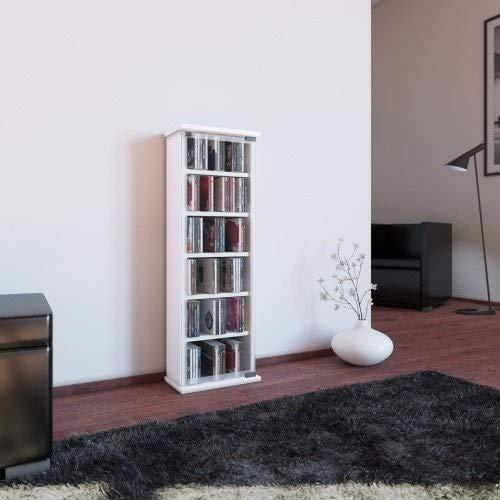 VCM 21027Classic CD/DVD-Turm für 150CDs Holz/Glas Weiß 88x 31x 18cm