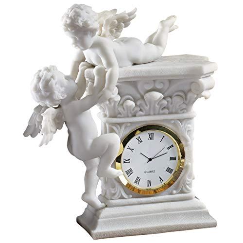 Design Toscano Barocke Zwillings-Cherubim, Schreibtischuhr aus Marmor-Kunstharz -