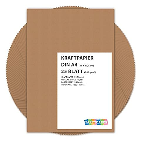 25 Sheets of Kraft Paper / Card A4 280g/m² Quality Cardboard Ideal for Craft and DIY / Brown