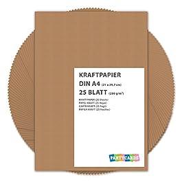 25 fogli di Carta Kraft DIN A3 280 gr/mq Natura in cartone di alta qualità Ideale per FAI DA TE E (DIY) Marrone invito…