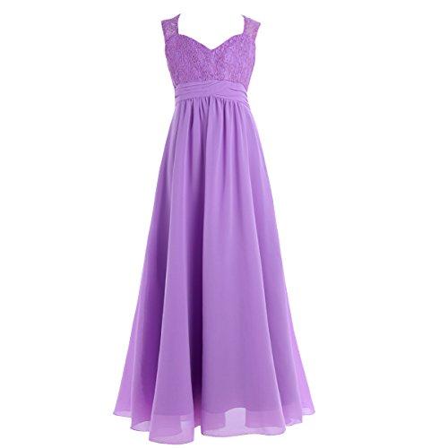 Lavendel Mädchen Prinzessin Kostüm - YiZYiF Mädchen Kinder Kleider Festlich Lang Brautjungfern Kleid Prinzessin Hochzeit Party Kleid Chiffon Festzug Gr. 104-164 Lavendel 152