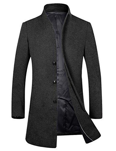 APTRO Herren Wintermantel reine Schurwolle Lange Mantel Business Mantel (Herbst und Frühwinter)-Schwarz L