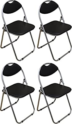 Harbour Housewares Black Padded, Folding, Desk Chair - Pack of 4 produced - quick delivery from UK.