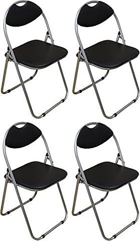 Chaise de bureau noire, pliable et matelassée Harbour Housewares - Boîte de 4