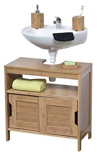 Tendance Unterschrank für Waschbecken oder Spüle - 2 Türen + 1 Regal + 1 Fach - exotischer Stil - aus BAMBUS