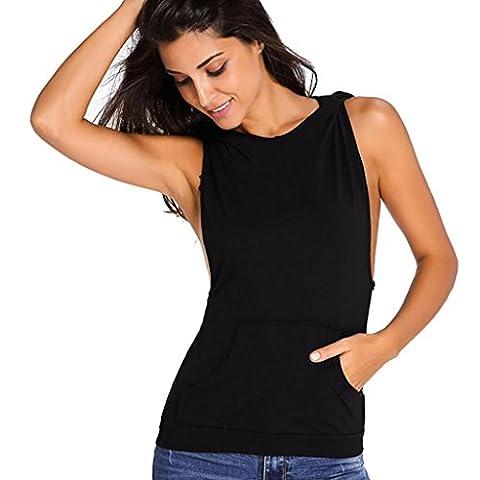 Bluestercool Sweat à Capuche Femme Sans Manches Dos Nu Hoodie Tops T-Shirt (L, Noir)