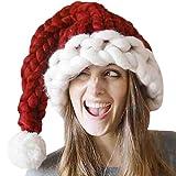 Solike Damen Weihnachtsmützen Nikolausmützen in rot – weiß,Weihnachtsmann Mütze Weihnacht Nikolaus Wintermütze Mädchen Strickmütze Beanie Hut Cap