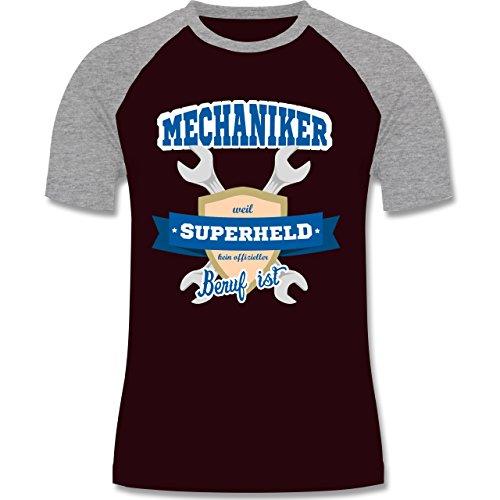 Handwerk - Mechaniker - weil Superheld kein offizieller Beruf ist - zweifarbiges Baseballshirt für Männer Burgundrot/Grau meliert