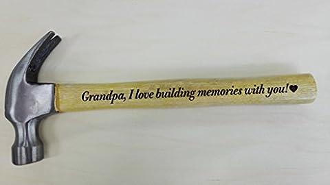Fête des Pères Cadeau pour PAPI I Love Construction souvenirs avec vous gravé en acier Manche en bois Marteau cadeaux pour grand-père
