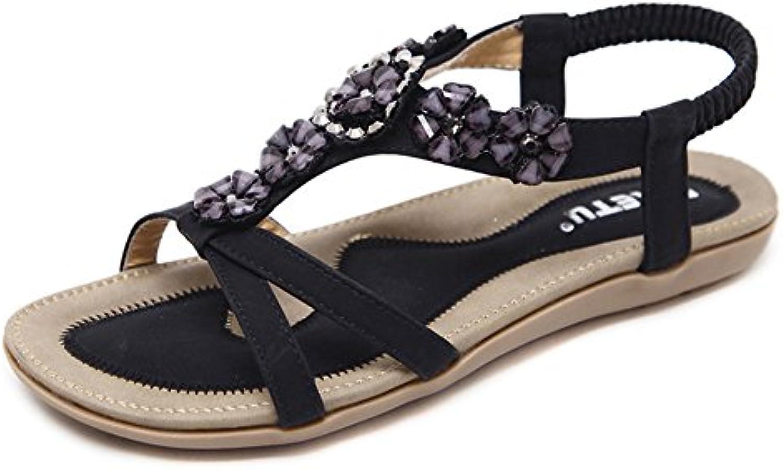 GUOCU Damen Sandalen Freizeit Böhmen Blume-Stil Sandalen Sommer Schuhe