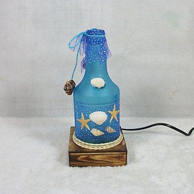 Bambus-harz-tischlampe (Valentinstag kreative Innenausstattung Geschenke Vintage Boutique Kunsthandwerk Flasche maritimen Stil Tischlampe Licht, 19 * -8,3 * 8.3Cm, blaue LED)