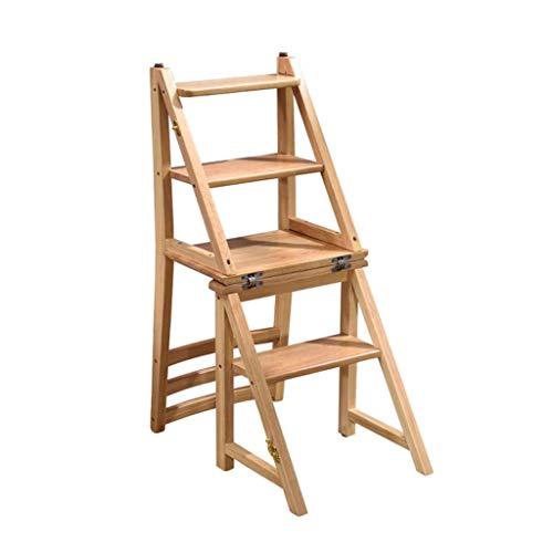 FOLDTAC Taburete de Paso portátil, Escalera de Madera de 4 Pasos Taburete Antideslizante Dormitorio Multifuncional Sala de Estar 37 X 50 X 90cm (Color : Wood Color)