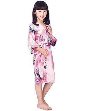 Surenow Pijama Kimono Robe Bata Albornoces Niñas Satén Pavo & Flores
