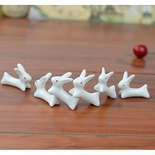 VANCORE(TM) 8 Pcs Set Cute Rabbit Pattern Ceramic Ware Chopsticks Rest Rack Porcelain Spoon Fork Knife Holder Stand