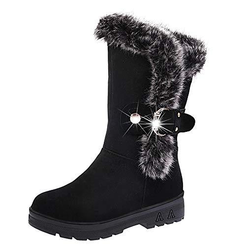 POLP Botas Zapatos señora Invierno Botas Botines y Botas Altas Mujer Además de Terciopelo Mantener Caliente Impermeable Antideslizante Zapatos de algodón Botas de Nieve Botas cómodas