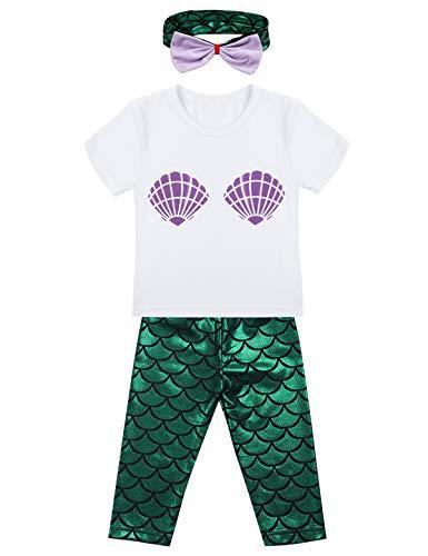 FEESHOW süß Baby Mädchen Kleidung Set Kurzarm Muschel Muster Shirt + Glänzende Hose + Stirnband 3tlg. Outfits Babybekleidung Mehrfarbig 24 Monate (Meerjungfrau Kleinkind Kostüm Muster)