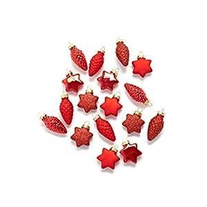 HEITMANN DECO Christbaumschmuck aus Glas - Baumbehang Weihnachtskugeln Sterne und Zapfen Weihnachtsdeko - 17-teilig, Rot