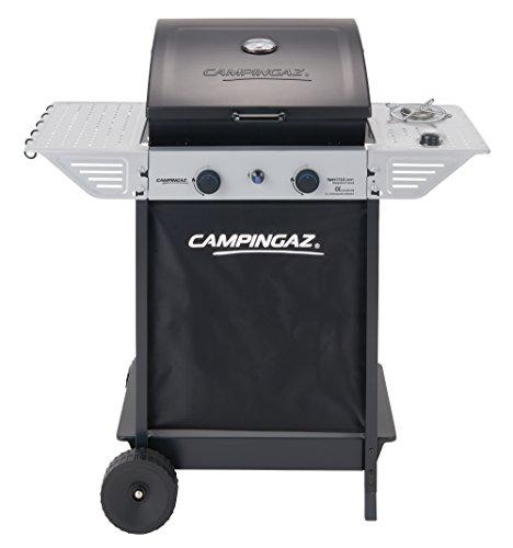 Campingaz BBQ a Roccia Lavica Xpert 100 LS Plus Rocky, Barbecue Grill Compatto a 2 Bruciatori e 1 Fornello Laterale, 7.1 kW di Potenza, 2 Griglie Cromate