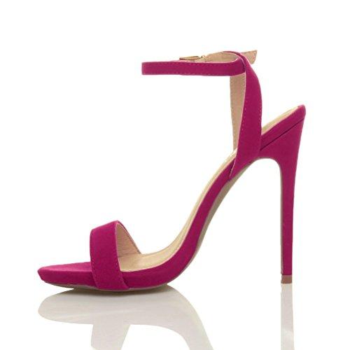 Femmes haute talon fête à peine là boucle lanières sandales chaussures pointure Rose fushia daim