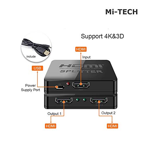 MI-TECH 4K HDMI Splitter Full HD 1080p Video HDMI Switch Switch Switch 1x2 Split 1-in-2 Out Verstärker Dual Display für HDTV DVD PS3 Xbox