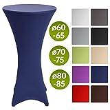Beautissu Stretch Stehtisch Husse Stella für Bistrotisch Ø 70-75 cm Elegante Stretch-Husse Blau als Tisch-Überzug in div. Farben & Größen