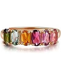 cf662b5b7252 Natural Turmalina De Seis Colores De Piedras Preciosas Ovales 18K Oro Rosa  Plateado Boda Mujeres Anillo