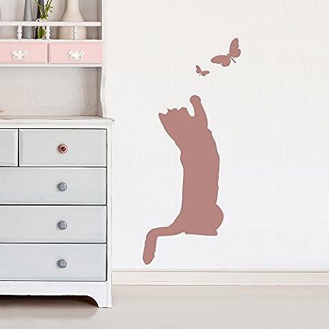 Cat & Butterfly Autocollant mural Animaux mignons Sticker Kids & Nursery Décoration de maison disponible en 5 dimensions et 25 couleurs X-Grand Fuchsia Rose