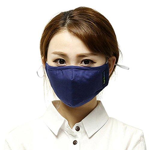 Küssen U Unisex Aktivierter Kohlenstoff Filterung Anti PM 2.5 Pollen Staub Gesicht Gesichtsmasken Mundschutz Masken Mit Verstellbarem Ohrbügel (Blau)