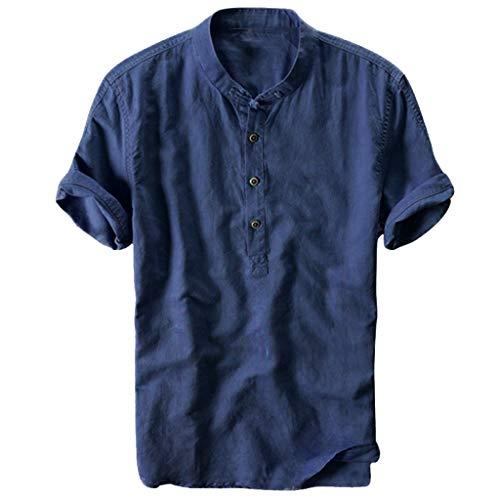 kragen Hemd Herren Poloshirt Kurzarm Tee Sommer T-Shirt Men's Polo Shirt Männer Revers Atmungsaktiv Quick-Dry Baumwolle und Leinen Kurzarm T-Shirt Tops Oberteil Lose Bequem M-XXXL ()