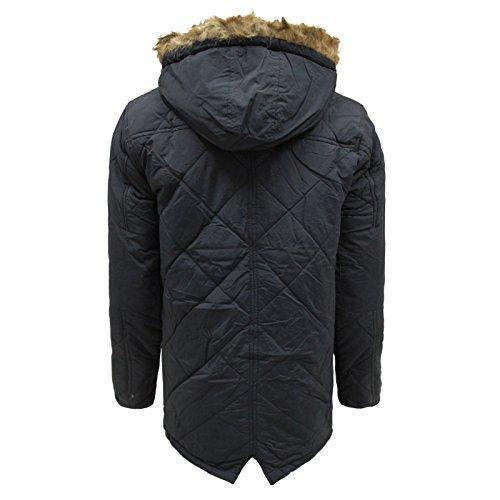 Brave Soul Hommes fausse fourrure capuche Zip bouton poisson queue Parka veste manteau taille S-XL Marine
