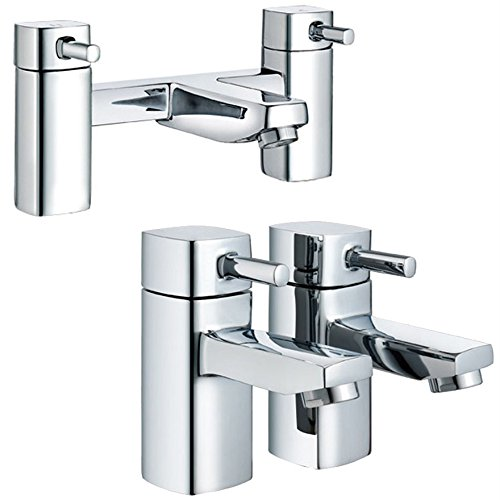 Design moderne carré arrondi Edge Mitigeur de baignoire + chaud + froid Robinets Mitigeur de lavabo (Nice 52)