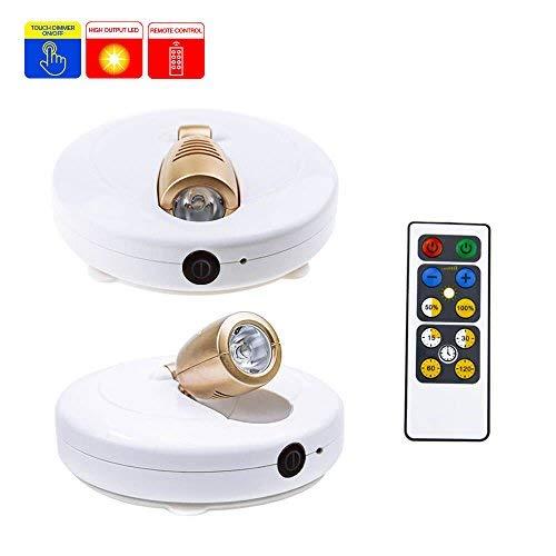 HONWELL Lumière LED Spot Sans Fil Lot de 2 Avec Télécommande et Lumière Blanche à Piles avec Lumières Rotatives et Tête collante pour Intérieur.