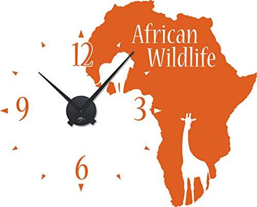 GRAZDesign Wandtattoo mit Uhrwerk afrikanisches Design - Uhren Wand Tattoo Kontinent Umriss - Wanduhr Afrika Tiere / 71x57cm / 800534_BK_035