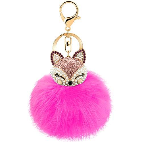 joudoo Kaninchen Pelz Ball Schlüsselanhänger mit Strass Fox Head Schlüsselanhänger 3.1×6.3 in rosarot (Pelz Red Fox)