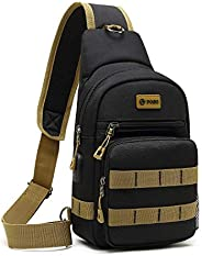POSO Sling Bag Backpack Multipurpose Casual Crossbody Chest Daypacks with USB Charging Port for Men & Wome