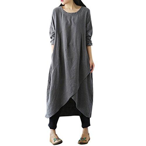 TEBAISE Herbst Mode Pocket Style Frauen Daily Charming Vintage Langarm Tunika Baggy Barbecue Party Lang Maxi Kleid Plus Size(Grau,EU-46/CN-XL)