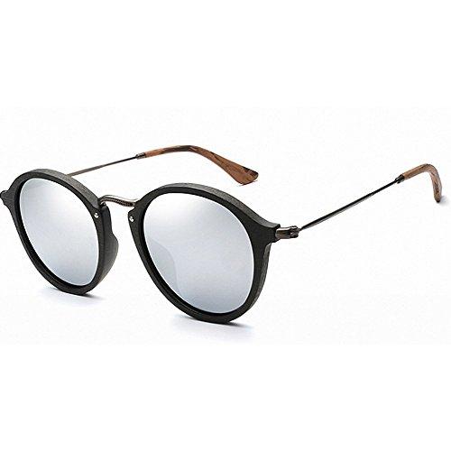 Ppy778 Holz polarisierte Sonnenbrille für männer und Frauen uv blockieren Vintage ovale Sonnenbrille Brillen Mode Sonnenbrillen (Color : Green)