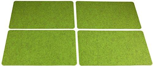 4x Filz-Kult Tischsets, apfelgrün-meliert, abgerundete Ecken, Tischset, Platzsets, Platzmatte, 4-5mm starker Filz, Untersetzer 30x45cm, Tischmatten (Weihnachts-dinner-set)
