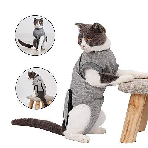 Doglemi Cat Recupero Vestito Morbido Surgery Wear Cappotto e-Collar Alternativa con Fibbia Elastica per Gatti e Cani ferite e malattie della Pelle Indoor
