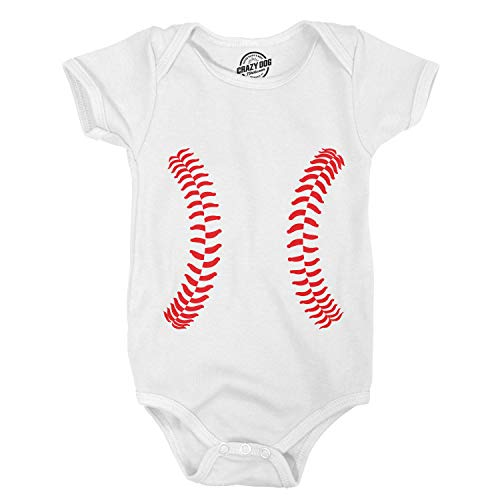 Crazy Dog Tshirts - Baseball Laces Adorable Sport Infant Baby Creeper Bodysuit (White) - 0-3 Months - Baby-Jungen - 0-3 Months Baseball Infant Bodysuit