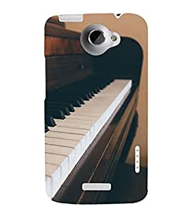 printtech Vintage Music Piano Instrument Back Case Cover for  HTC One Max Dual SIM