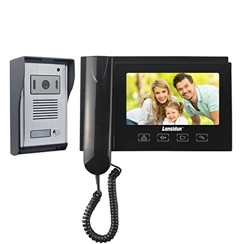 Lansidun Video Doorbell Door Phone 7 inch Wired Video Telephone Entry Intercom System with 1 Monitor 1 Camera for Home, Handset or Hands Free-Black