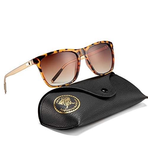 Rocf Rossini Polarisiert Herren Sonnenbrille für Damen klassisch Retro Sonnenbrillen Aluminium-Magnesium-Legierung Männer und Frauen Vintage Anti Reflexion UV400 Schutz - Unisex (Schildpatt/Braun)