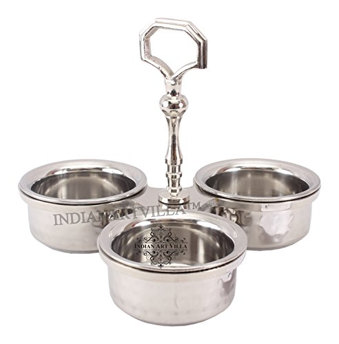 IndianArtVilla Steel Condiment Pickel Set of 3 Bowls|For Serving Vegetables Dishes Hotel Restaurant