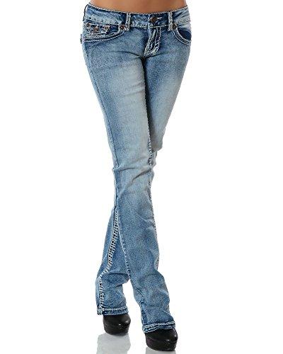 Damen Jeans Straight Leg (Gerades Bein Dicke Nähte Naht weitere Farben) No 12923 38 Jeansblau